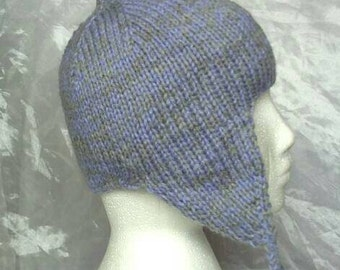 Grey Purple Hat with Earflaps