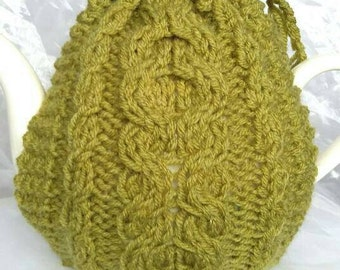 Cabled Green Teapot Cosy