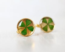 Clover Resin Cuff links - Four Leaf Clover Cuff links - 4 Leaf Clover