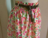 Women's/ junior's Paper Bag Waist Skirt Flower Print, Elastic Waist, and Front Belt Loops