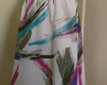 Women's /Junior's White Print Circle Skirt with Elastic Waist; Below Knee Skirt