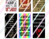 "Sayings (#2) 1"" x 2"" Domino Images 4x6 Digital Collage Sheet  Instant Download"