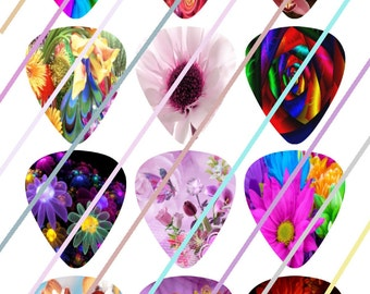 Bright Flowers Guitar Picks Images 4x6 Digital Collage Sheet Wine Love Instant Download