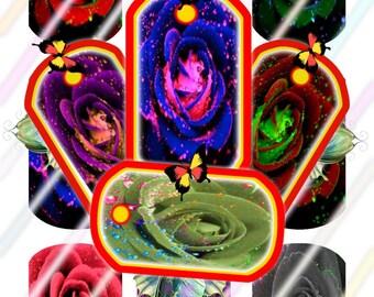 Rose Dog Tags Images 4x6 Digital Collage Sheet Instant Download