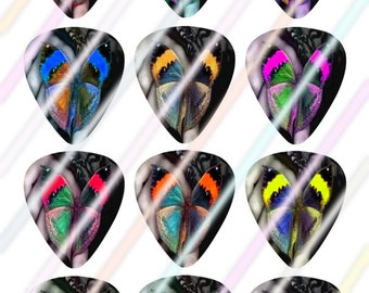 Butterfly Glow Guitar Picks Images 4x6 Digital Collage Sheet Wine Love Instant Download