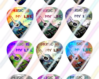 Music Glow Guitar Picks Images 4x6 Digital Collage Sheet Wine Love Instant Download