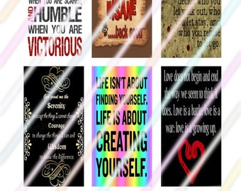 """Sayings (#2) 1"""" x 2"""" Domino Images 4x6 Digital Collage Sheet  Instant Download"""