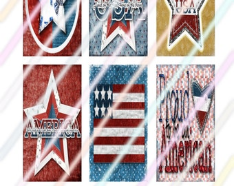 """Patriotic 1"""" x 2"""" Domino Images 4x6 Digital Collage Sheet  Instant Download"""