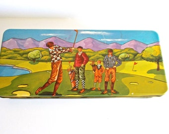 Vintage Tin Golf Scene Graphic 1920s Attire and Equipment