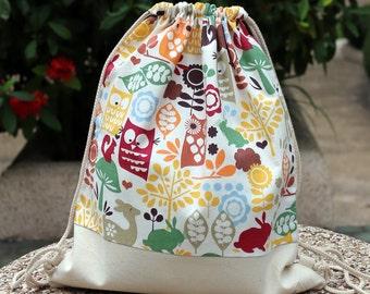 Drawstring backpack/ Drawstring bag/ gym bag ~ Lovely owls (B1)