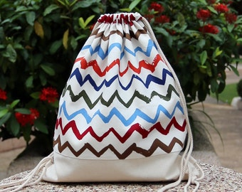Drawstring backpack/ Drawstring bag/ gym bag ~ Colourful chevron (B10)