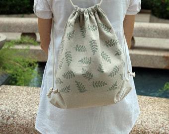 Drawstring backpack/ Cotton backpack/ Drawstring bag/ handmade backpack/ Gym bag/ Swim bag ~ Garden leaves (B16)