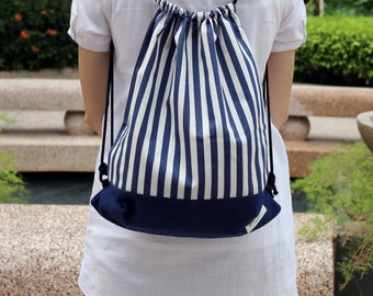 Drawstring backpack/ Cotton backpack/ Drawstring bag/ handmade backpack/ Gym bag/ Swim bag ~ Blue and white strips (B9)