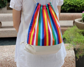 Drawstring backpack/ Cotton backpack/ Drawstring bag/ handmade backpack/ Gym bag/ Swim bag ~ Colourful strips (B11)
