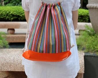 Drawstring backpack/ Drawstring bag/ gym bag ~ Colourful strips (B5)