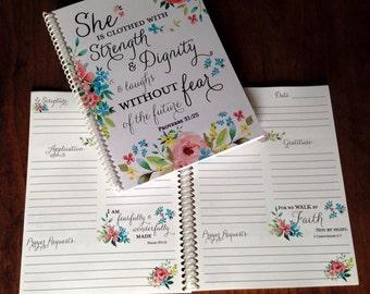 Prayer Journal - Bible Journaling - Journal - Christian gifts -  Scripture Journal - **Spring Floral **