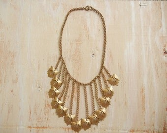 Art Deco 1930's Brass  Leaf Choker Necklace