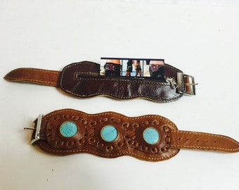 Brown leather bracelet with turquoise and hidden pocket