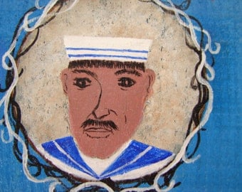Vintage Greek, The Sailor, ouzeri menu, hand-painted with acrylic watercolor on old wood ready to hang