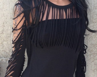 Black shredded shirt and bandeau Top