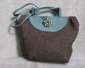 Brown Tweed Purse with Blue Leather Trim Upcycled Medium Wool and Leather Bag Again
