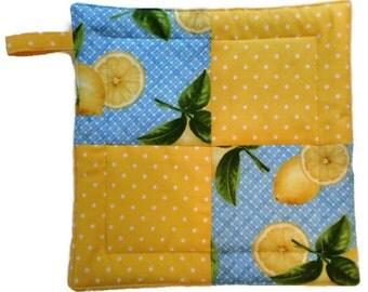 Lemon Pot Holder, Pot Holder, Hot Pad, Lemon Hot Pad, Hostess Gift, Wedding Gift, Housewarming Gift, Fabric Pot Holder, Wedding Shower