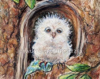 "Owl Art children Nursery, baby animal wildlife Canvas or art paper print ""Sleepy Little Owl...Close Your Eyes"" Laurie Shanholtzer"