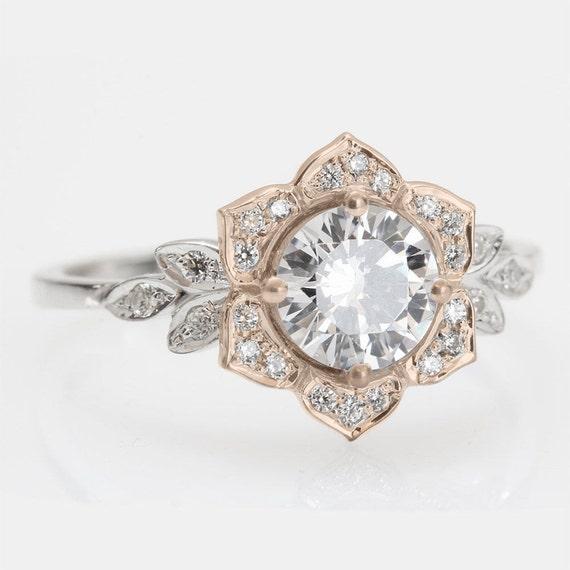 Items Similar To Vintage Flower Ring Leaf Engagement Ring