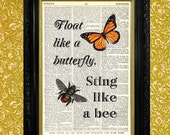 Float Like A Butterfly Dictionary Art Print, Up-cycled Recycled Vintage Book Page, Man Cave Decor, Dorm Decor, Boxing Quote, Muhammad Ali