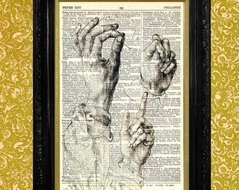 Albrecht Durer Hand Study Dictionary Page Art Print, Recycled Upcycled Vintage Book Page Art, Home Decor