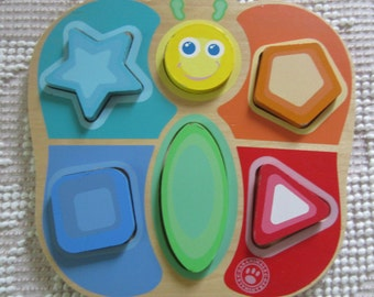 Wooden Puzzle - Colors and Shapes for Pre-Schoolers -  Vintage Wood Puzzle Pre-School Play