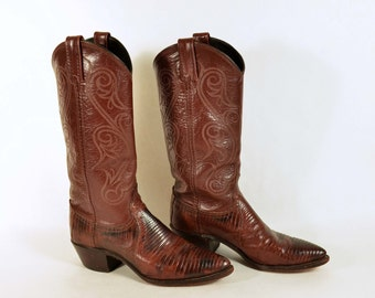 Vintage DAN POST Brown Leather Reptile Western Boots/Cowgirl Southwestern Country Line Dance Rodeo Boots 6 1/2M