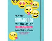 Tween Birthday, Emoji Birthday Invitation, Emoticon Teenage Party Invitations