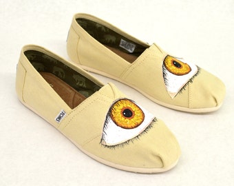 Custom Hand-Painted Creepy Eye Ball Toms - Natural Canvas Classics - Customizable, You Pick The Color Of the Eyes And Shoes