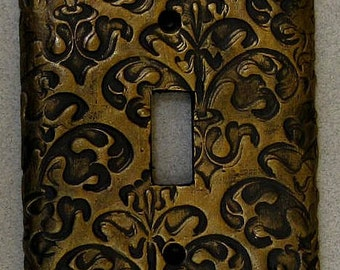 Gold Floral Scroll Single Toggle Switchplate Lightplate