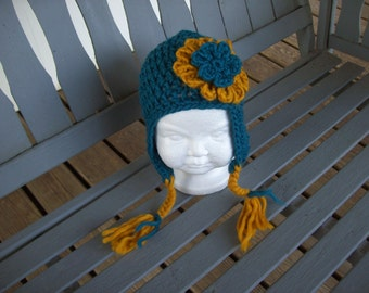 Baby,Infant,Girl,Gift,Photo Prop,Hat,Dark Teal,Dark Gold,Crocheted,Earflaps