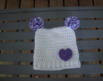 Crocheted,Hat,Baby,Girl,Photos,White,Purple,Pom-Pom,Gift,Infant,Heart,Three Months,Gift,Shower