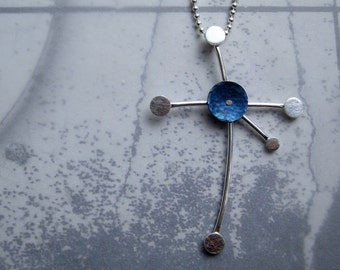 Southern Cross Constellation Necklace Hammered Titanium Sterling Silver Ball Chain
