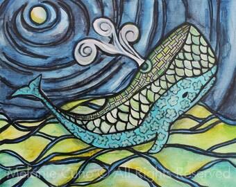 PRINT- 8x10 Origami whale whimsical artwork