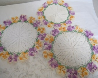 Vintage Round Cochet Doilies with Orange and Purple Pansies, Set of Three in Wonderful Condition