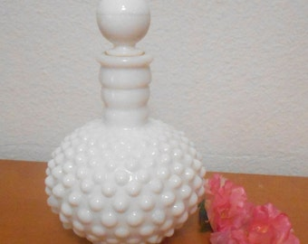 Vintage Fenton Or Anchor Hocking Glass Hobnail Perfume Bottle, Milk Glass Bottle with Stopper