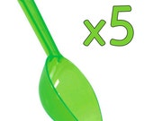 5 Clear Green Scoops for Candy Buffets, Food Crafts, Bath Salts, Beads, and More!