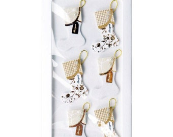 White and Gold Christmas Stockings - Winter Holiday Dimensional Stickers by Little B - Set of 6