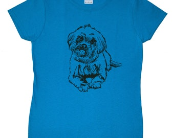 Shih Tzu Screen Printed Women's T-Shirt S M L XL 2XL Dog Shirt