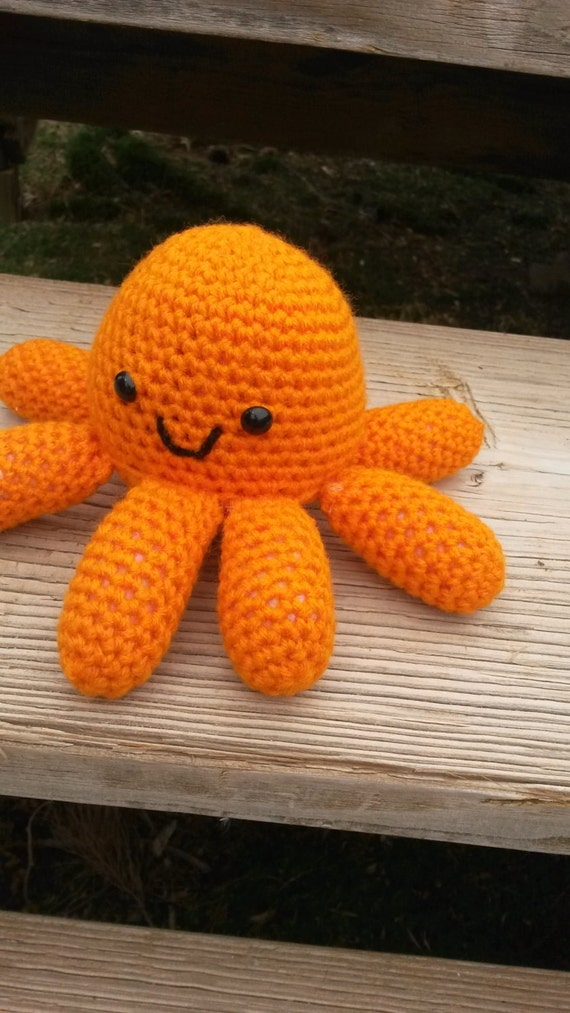 Amigurumi Stuffing : Orange Octopus Crochet Amigurumi Stuffed Aminal