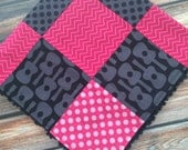 READY TO SHIP Groovy Guitars Baby Girl Blanket Minky Carseat Stroller Blanket Black Hot Pink Hipster Baby