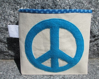 Reusable Snack Bag with Velcro Closure: Peace and Polka Dots