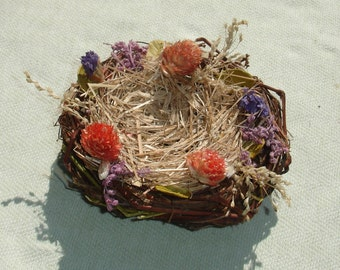 Small Twig Bird Nest with Dried Flowers - Floral Craft Supply