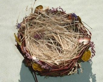 Medium Twig Bird Nest with Dried Flowers - Floral Craft Supply