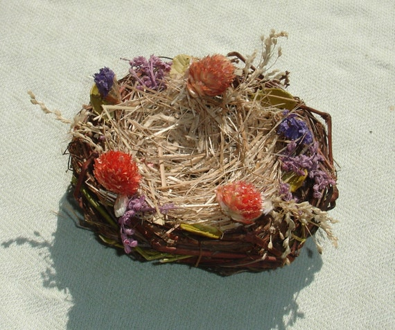 Small twig bird nest with dried flowers floral craft supply for Dried flowers craft supplies